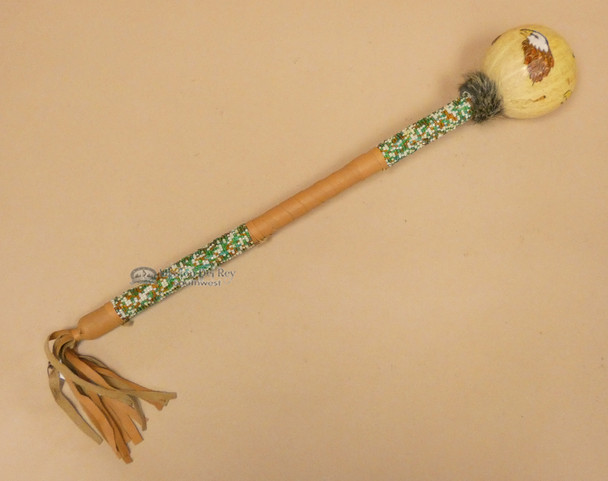 Native American Creek Indian Gourd Rattle - Eagle