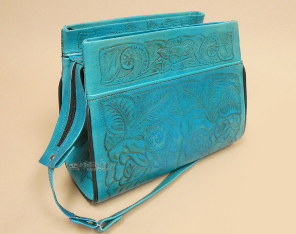 Rustic Hand Tooled Leather Purse
