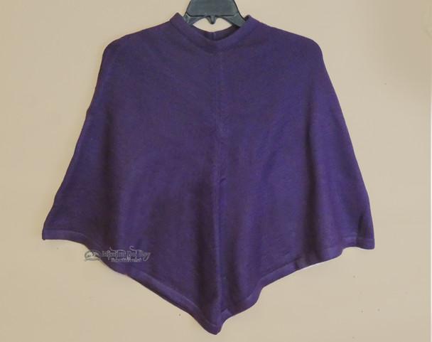 100% Alpaca Poncho - Purple
