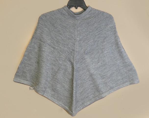 100% Alpaca Poncho - Grey