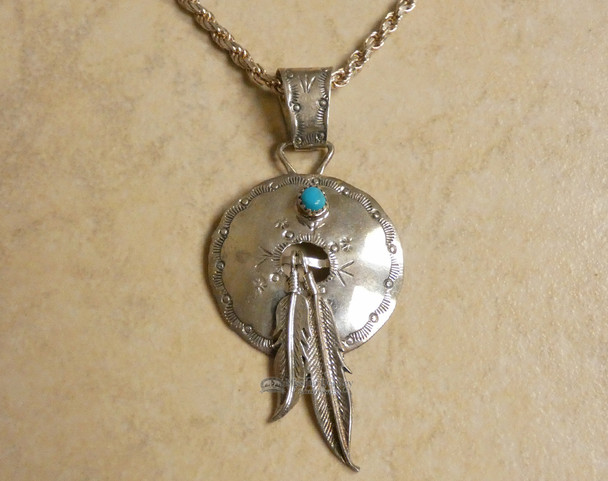 """Sterling Silver and Turquoise Pendant 3"""""""