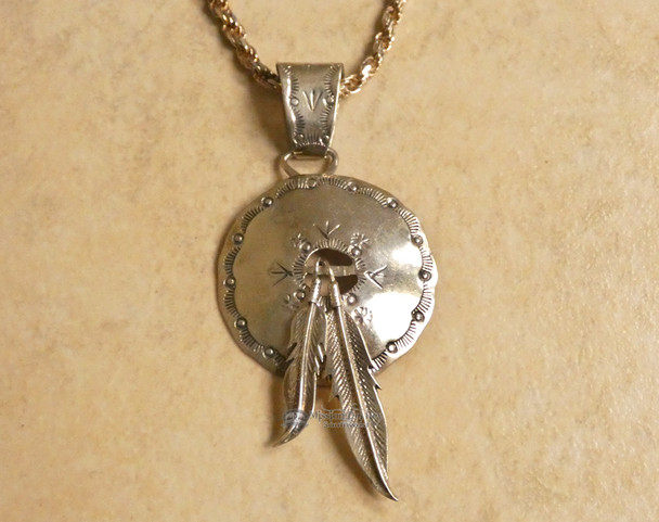 "Sterling Silver Navajo Indian Pendant 3"""