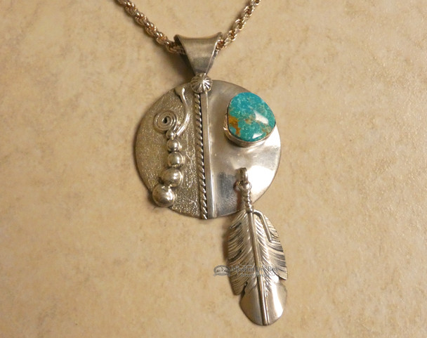 Sterling Silver and Turquoise Navajo Pendant
