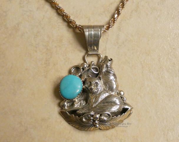 "Native American Silver Wolf Pendant Necklace 20"" -Navajo"
