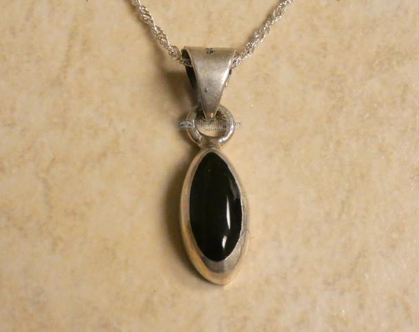 Navajo Sterling Silver Lapis Pendant & Chain