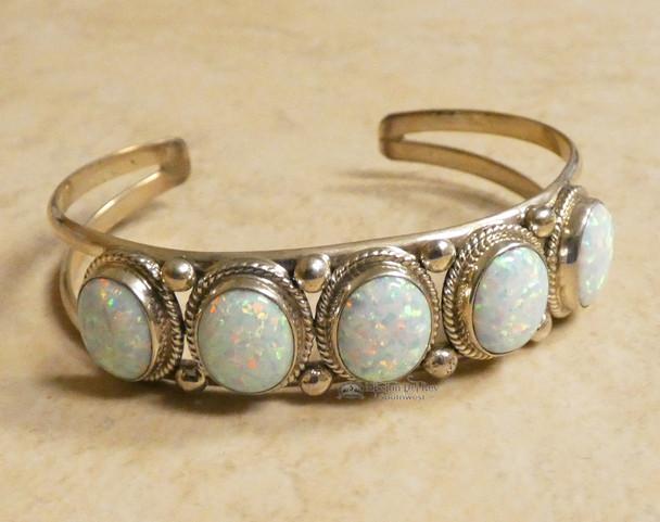 Navajo Opal & Sterling Silver Cuff Bracelet