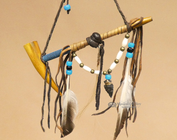 Navajo Beaded Peace Pipe - Blue Beading