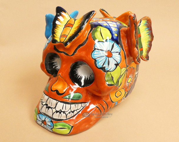 Hand Painted Mexican Skull w/ Butterflies