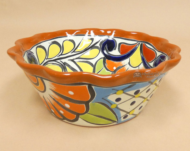 Hand Painted Mexican Talavera Flower Bowl
