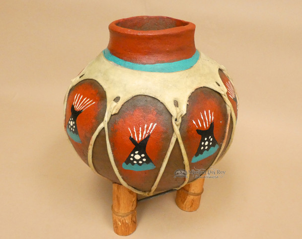 Hand Painted Tarahumaran Bean Pot - Teepee