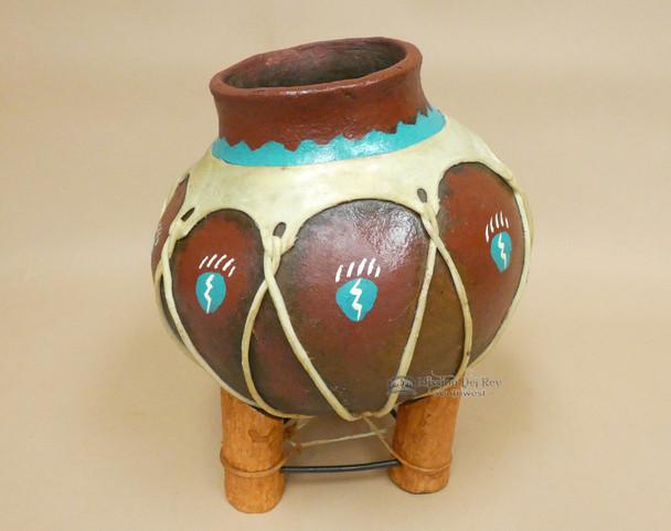 Hand Painted Tarahumaran Bean Pot -  Paw Print