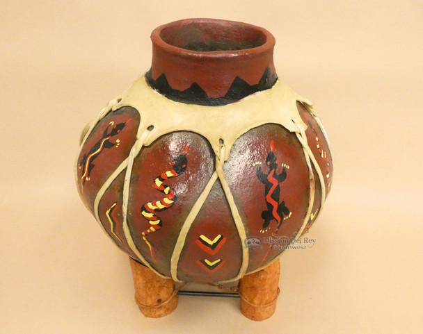 Hand Painted Tarahumaran Bean Pot - Snake Lizard