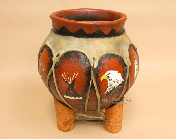 Hand Painted Tarahumaran Bean Pot  - Eagle Teepee Paw