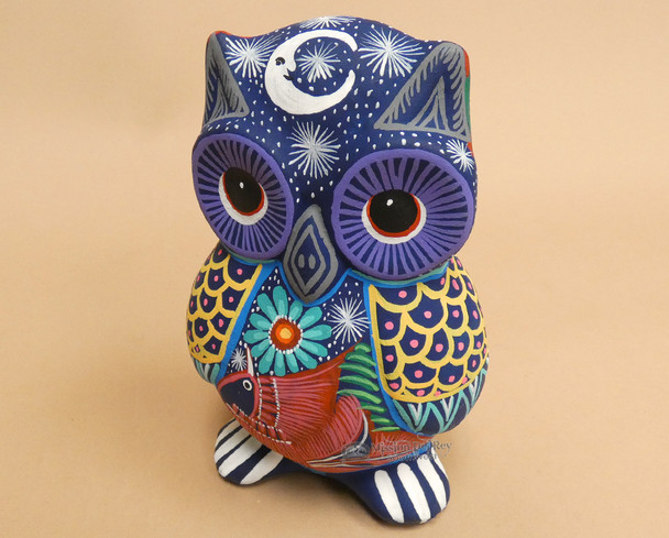 Mexican Hand Painted Ceramic Owl Bank