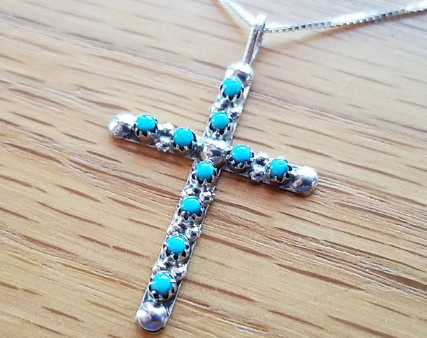 Native American Silver & Turquoise Cross Necklace