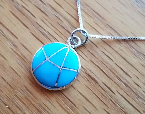 """Inlaid Silver Pendant Necklace 18"""" -Turquoise"""