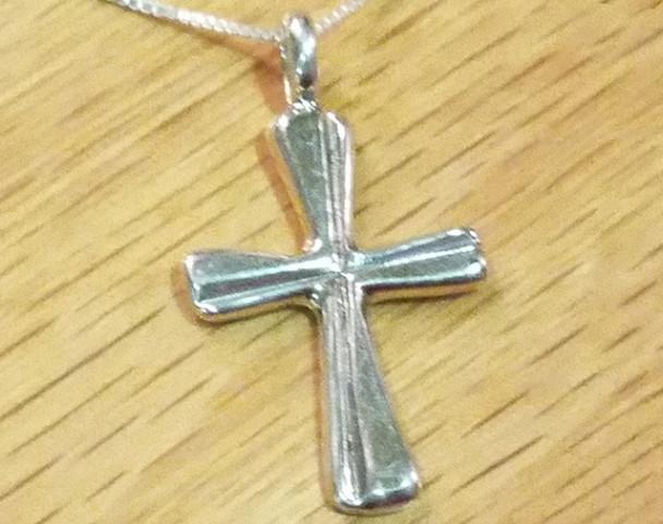 "Silver Cross Necklace 20"" -Zuni"