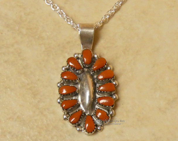 Native American Zuni Coral and Sterling Silver Necklace