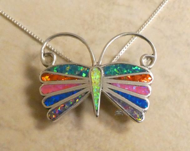 "Native American Butterfly Necklace 20"" - Zuni"