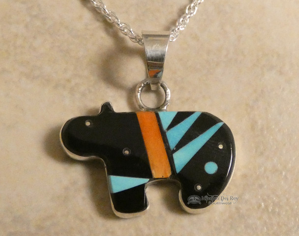 "Native American Zuni Fetish Bear Necklace 20"""
