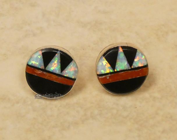 Native American Zuni Opal and Coral Earrings
