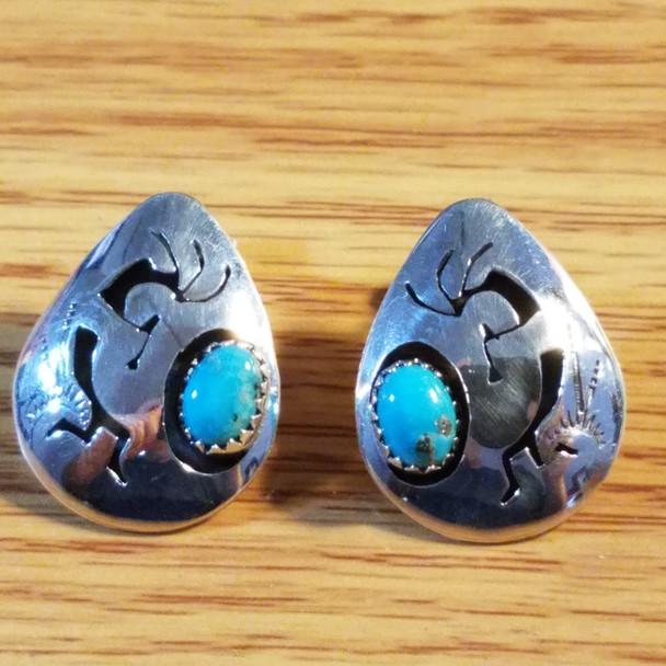 Native American Silver & Turquoise Earrings -Kokopelli