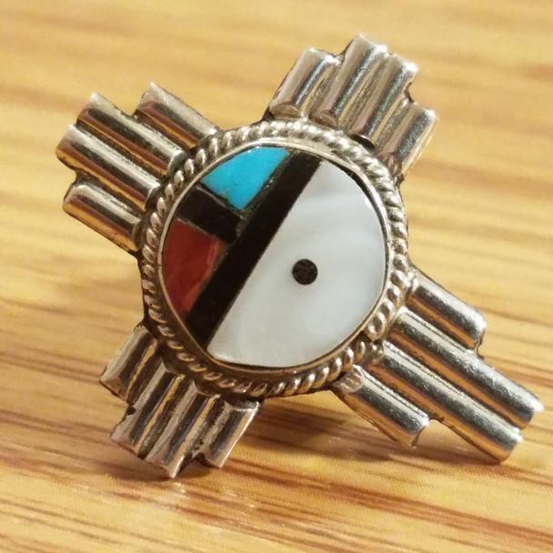 Native American Sterling Silver Lapel Pin -Zia Sun Face