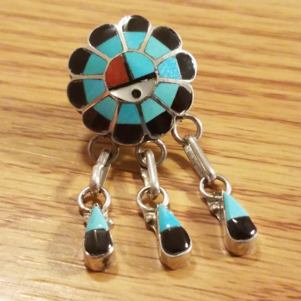 Native American Sterling Silver Lapel Pin -Sun Face