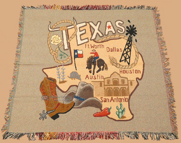 Texas City And State Throw Blanket