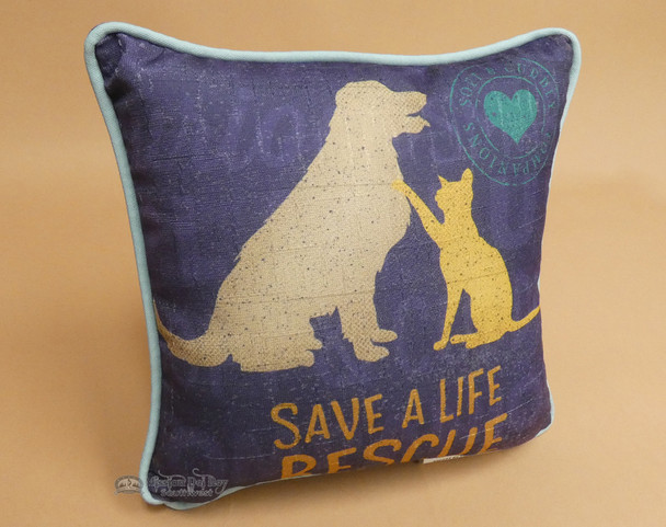 """Save a Rescue Dog & Cat Pillow 10""""x10"""""""