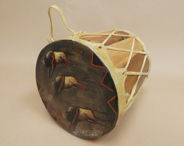 Native American Tarahumara Indian Painted Drum - Buffalo Herd