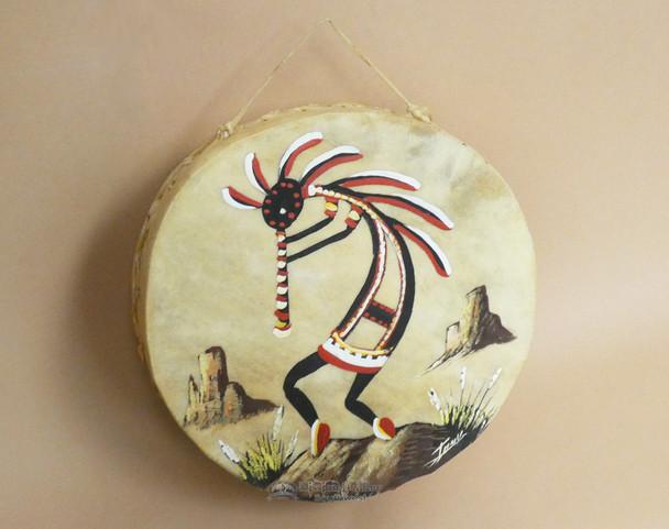 """Hand Painted Tarahumaran Drum 8"""" - Kokopelli"""