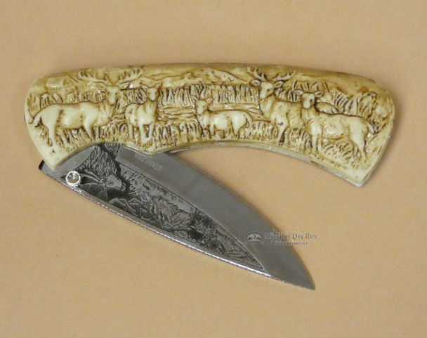 Faux Antler Knife with Scenic Design