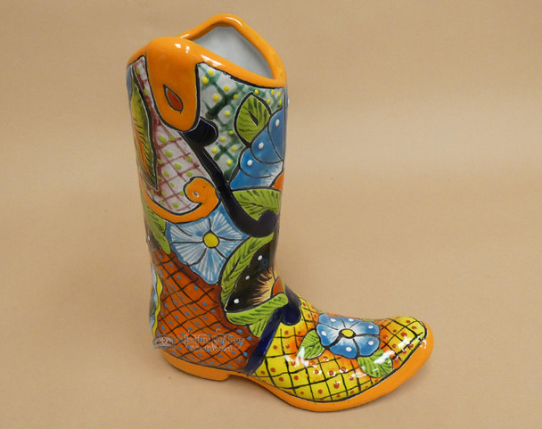 Hand Painted Western Talavera Boot