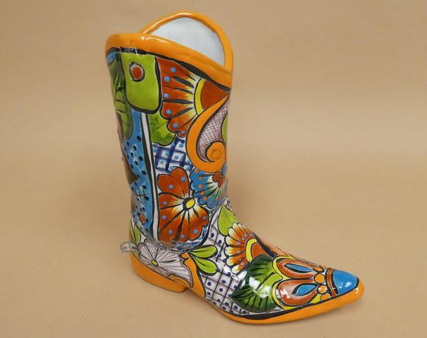 Large Hand Painted Talavera Boot