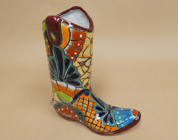 Large Hand Painted Talavera Boot