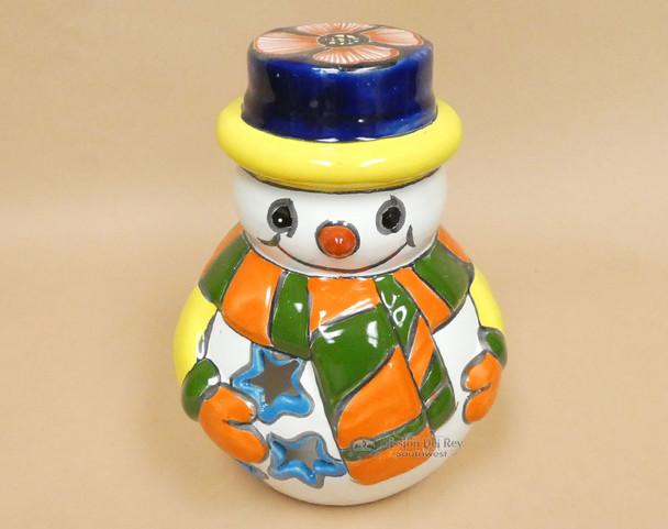 Hand Painted Talavera Snowman Luminary