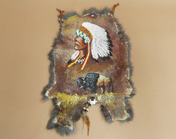 Hand Painted Western Rabbit Hide - Chief