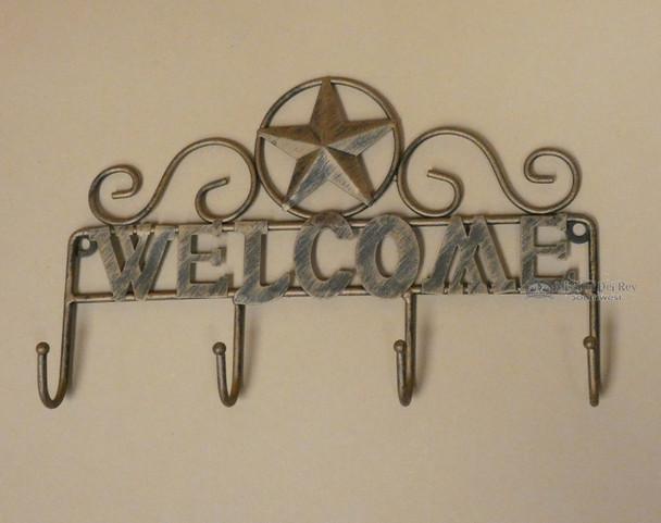 Tin Art Welcome Sign Key Holder