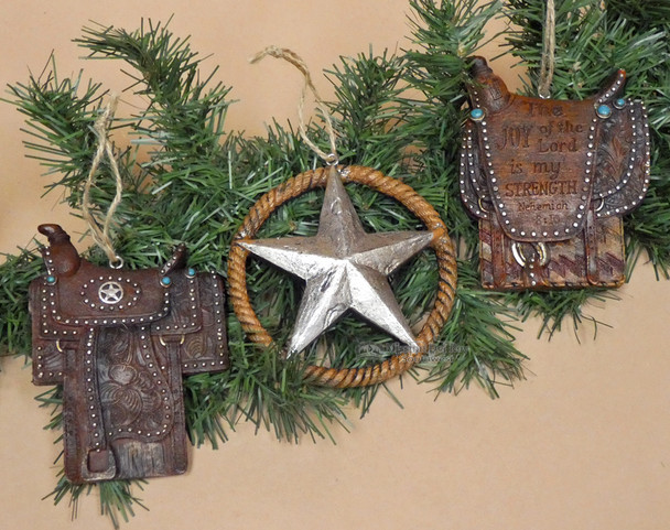 Western Saddle & Star Christmas Ornament Set