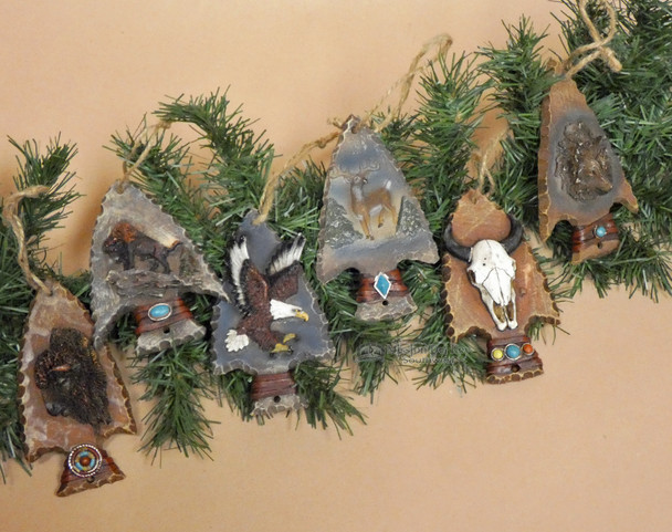 Wildlife Arrowhead Christmas Ornament Set