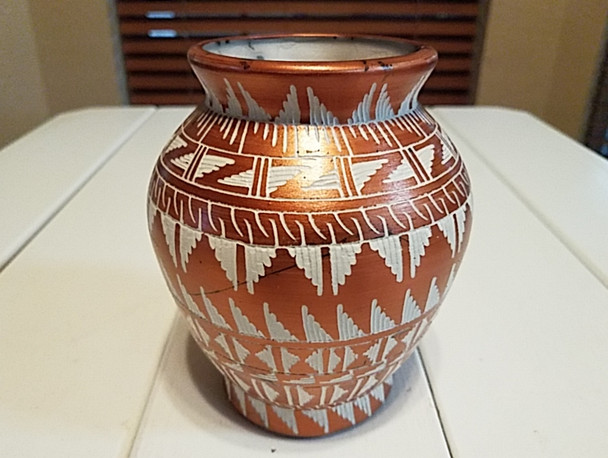 Native American Etched Horse Hair Vase