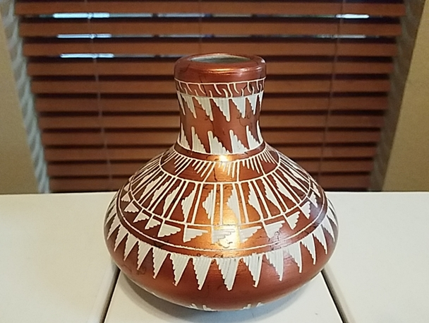 Copper Finish Horse Hair Pottery Vase