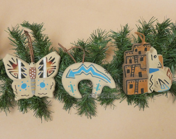 Navajo Sand Painted Ornaments - Set of 3