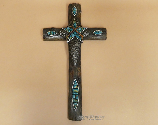 Southwestern Turquoise Star Wall Cross