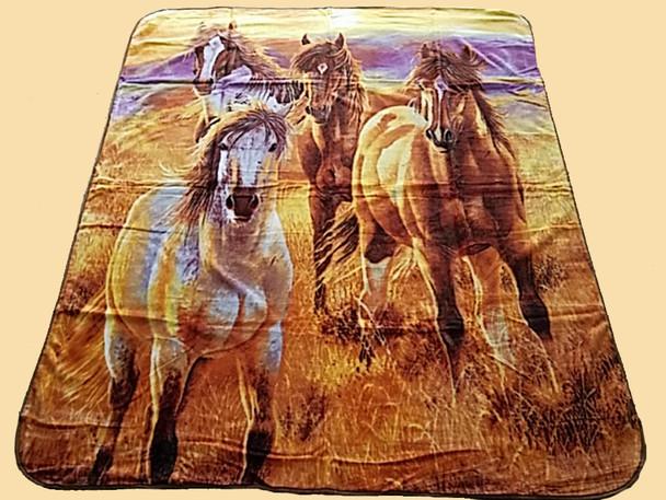 Plush Southwest Designer Queen Blanket -Sunrise Horses