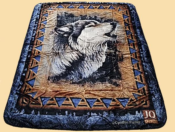 Plush Southwest Designer Queen Blanket -Wolf Spirit