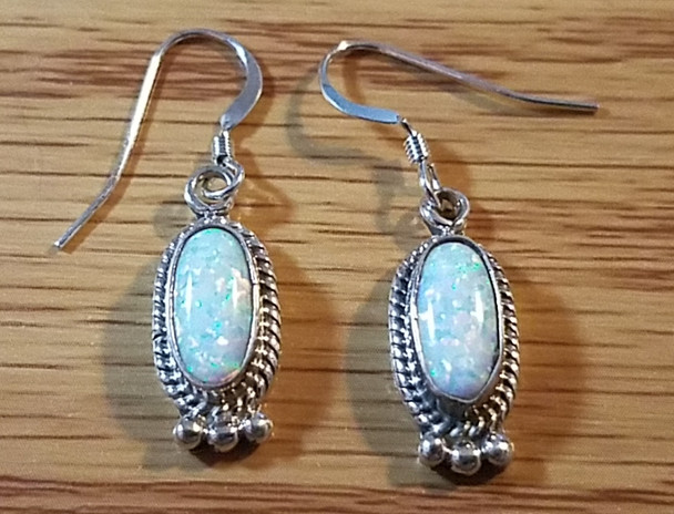 Native American Navajo Sterling Silver Earrings - Opal