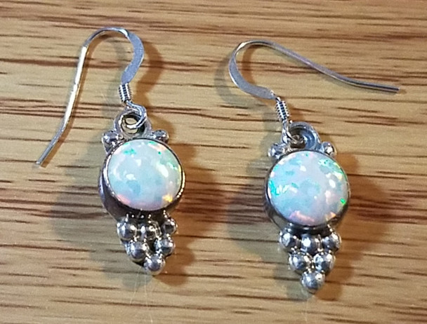 Native American Sterling Silver Earrings - Opal