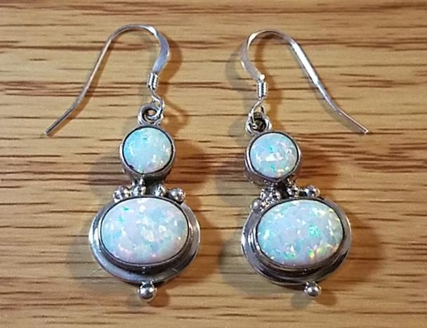Native American Sterling Silver Earrings - Opal